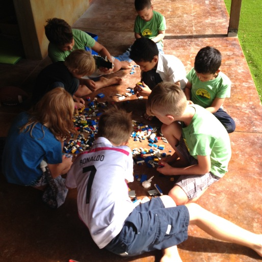 Los Rayos having fun with Legos